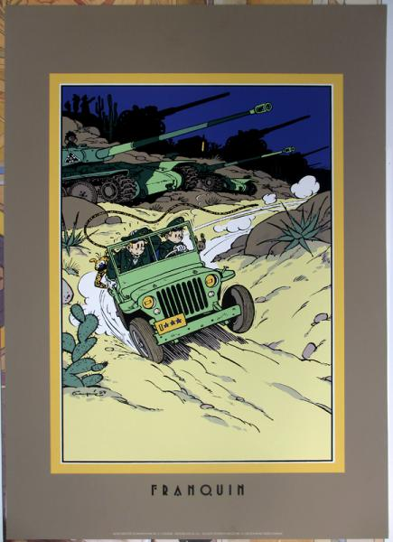 Spirou (affiches et sérigraphies) # 0 - Spirou Jeep sérigraphie Archives internationnales