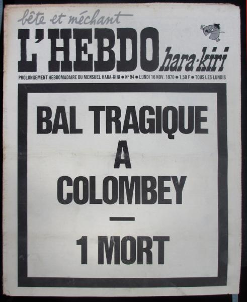 Hara-Kiri hebdo n°94 : Bal tragique à Colombey - 1 mort | La bande des cinés