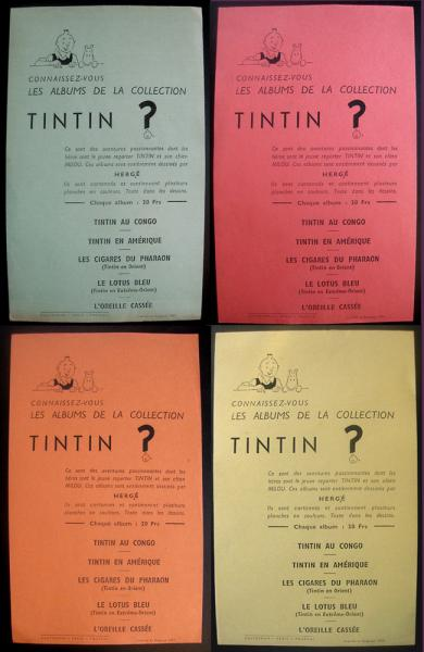 Tintin (divers) # 0 - Lot rares tracts Tintin 1937 complet 4 couleurs